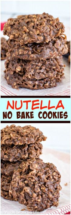 Nutella No Bake Cookies - these easy cookies are loaded with coconut oats and chocolate spread. Awesome no bake dessert recipe!