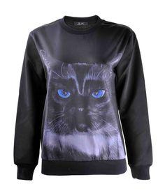ZLYC Women Black Cat Animal Print Crew Neck Long Sleeve Novelty Pullover  Sweatshirt at Amazon Women s Clothing store  4c38072da