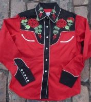 Rockmount Ranch Wear Men's Vintage Western Shirt: Fancy Flowers 2 Tone Nashville Rose Red and Black S-XL