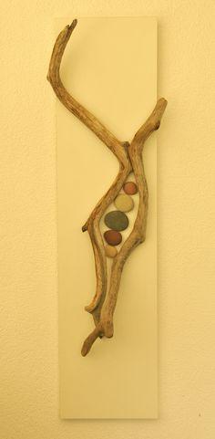 Driftwood and Beach Stones Wall Sculpture