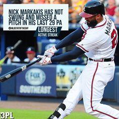 #NickMarkakis #stats #MLB #baseball #Atlanta #Braves #MLBstatoftheDay #streak #hitting (Twitter/MLBstatoftheDay) Braves Baseball, Baseball Cards, Nick Markakis, Ml B, Atlanta Braves, Pitch, Twitter, Sports, Life