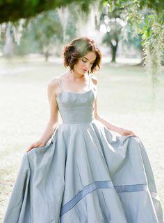 Blue ball gown | Dress: Tara LaTour | Photo: Corbin Gurkin | Blog.theknot.com