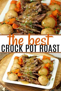 crockpot recipes You will be surprised with how delicious this simple crock pot roast with potatoes recipe is. It is easy to make and packed with tons of flavor without seasoning packets! This is a great beef recipe that the entire family with love! Crockpot Dishes, Crock Pot Cooking, Healthy Crockpot Recipes, Slow Cooker Recipes, Cooking Recipes, Potatoes Crockpot, Slow Cooker Pot Roast, Crock Pot Chuck Roast, Best Crockpot Roast