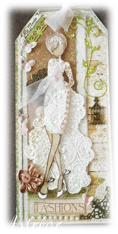 Tag using Julie Nutting doll stamps. Inspiration. Prima M.bride doll - Astréor créations - Timbre poupée prima glamour