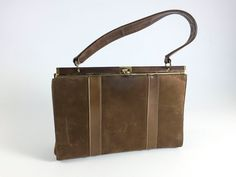 Vintage Brown Suede Purse With Gold Toned Clasp Bag Retro Handbag Rockabilly Mid Century - pinned by pin4etsy.com