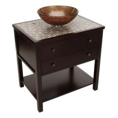 Home Decorators Collection Briscoe 31 in. W x 22 in. D Sink Cabinet in Espresso with Glass Top/Copper Basin-0322210820 at The Home Depot