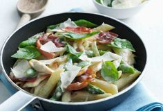 chicken, asparagus and prosciutto penne made with carnation milk :)