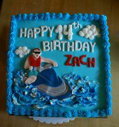 Buttercream iced Jet Ski themed cake