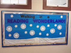 """Winter Library Bulletin Board - Put titles of """"snowy"""" books (Like The Long Winter by Laura Ingalls Wilder) inside the snowflakes. Use fake """"snow"""" from the dollar store for the snow along the bottom."""