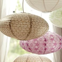 Mauve Floral Medallion Oval Paper Lanterns @ PBTeen - clearance $7.99 + $15 white cord kit