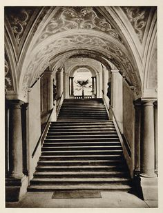 1928 Staircase Stairs St Florian's Monastery Austria - ORIGINAL GER1