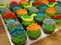 Dinosaur Party : Dinosaur Cupcakes : by Amanda's Caketastic Creations Dinosaur Cupcakes, Dino Cake, Dinosaur Birthday Cakes, Dinosaur Party, Cake Birthday, The Good Dinosaur Cake, Dinosaur Dinosaur, Elmo Party, Elmo Birthday