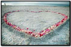 Instead of an alter?? Simple Heart in the Sand for a Simple Beach Wedding