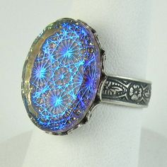 Blue Opal Ring Adjustable Gothic Starburst by NicolettesJewelry