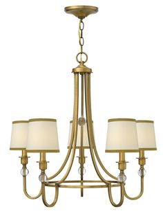 Five Light Chandelier Morgan is an updated traditional style that conveys both quality and comfort. The minimalist center hoop design creates a sense of openness. Elegant off-white linen shades trimmed in bronze silk combine with crystal ball accents and petite square arms for understated luxury.