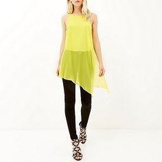Lime green asymmetric vest £28 #RiverIsland