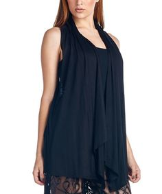 Look what I found on #zulily! Black Lace-Racerback Vest by Paolino #zulilyfinds