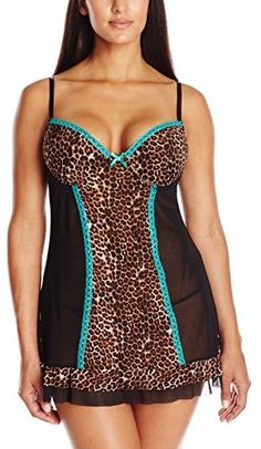 Just Sexy Women's Plus-Size Mesh Molded Babydoll with Animal Print