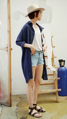 long blue collared cardigan, white blouse, light blue shorts