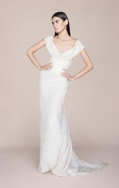 Vivienne Westwood Made-To-Order Long Cocotte Dress in printed ivory organza with sequins