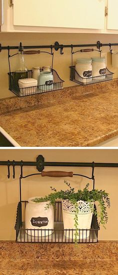 Small kitchen idea for countertops. -- A ton of clever hacks and storage ideas for small spaces, homes and apartments! Small bedroom, bathroom, living room and kitchen ideas on a budget (DIY and cheap). Small space living isn't so bad! Even with kids. Listotic.com #cheaphomedecor #kitchenhacks #kitchencountertops