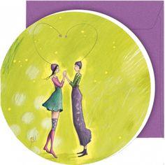 """Gaëlle Boissonnard greeting card (12.5 cm) """"Les amoureux en coeur"""""""