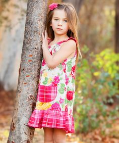 Another great find on #zulily! Hot Pink Rose Angel-Sleeve Dress - Infant, Toddler & Girls #zulilyfinds