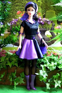 OOAK Vintage Silkstone Barbie Mod Fashion 13pc PURPLE POW-WOW Clare's Couture #ClaresCouture