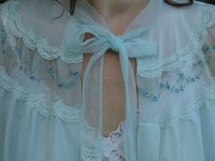 50s Blue bed jacket lingerie Top Vintage by SerendipityCircus