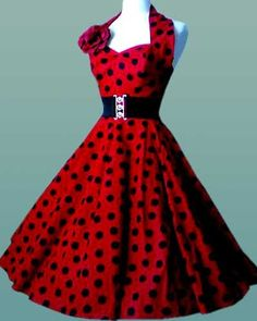 Rockabilly & Pin Up 50's Dress Red with Black Dots.. Don't know where I'd wear this.. but it is awesome!