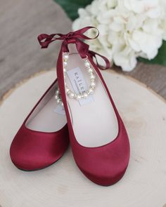 WINE Satin Flats with Pearls Ankle Strap – Satin flower girls shoes, Burgundy Shoes, Dark Red Shoes - Modern Flower Girl Shoes, Girls Shoes, Shoes Women, Flower Girls, Ladies Shoes, Girls Sandals, Ankle Strap Heels, Ankle Straps, Cute Shoes