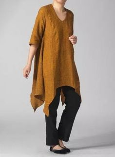 Lagenlook Tunics : My Picks Look Casual, Casual Chic, Boho Fashion, Fashion Outfits, Womens Fashion, Quoi Porter, Couture, Linen Dresses, Mode Style