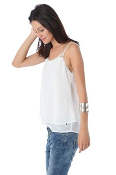 White cami with beaded detail