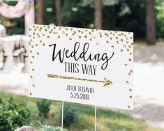 Trendy wedding signs are a must for your wedding! Show your wedding guest how to get to your wedding ceremony with Kate Aspen's Gold Glitter Personalized Directional Wedding Sign!