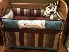 Blue and Brown Cowboy Western Crib Bedding by bellabeddingcouture, $420.00