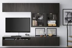 IKEA BESTÅ is a versatile, multipurpose living room storage system, suitable for your TV and other electronic devices. Assemble your own version or choose one of our combinations, like this black/brown set of cabinets with drawers, doors and glass doors.