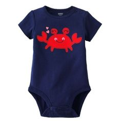 """Carter's Baby Girls Navy Blue """"Cute Crab with Hearts"""" Short Sleeve Cotton Knit Bodysuit (6 Months) Carter's,http://www.amazon.com/dp/B00A88H3ZE/ref=cm_sw_r_pi_dp_iWkArb55AE1549A1"""