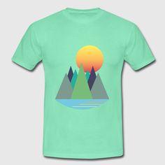 Berge - Sonnenaufgang - Wanderlust Teenager Premium T-Shirt Sonne Illustration, Wanderlust, Berg, Logos, T Shirt, Rising Sun, Sunrise, Landscape, Summer Recipes