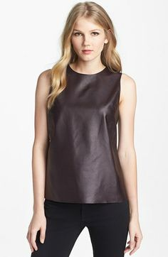 Vince Leather & Stretch Silk Shell   Nordstrom