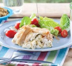 Filo fish parcels Make your own flavoured couscous by mixing your favourite spices into plain couscous. We like oregano, Moroccan spice and lemon zest.