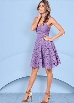 A spring break must-have! Venus eyelet dress with Venus raffia detail heel.