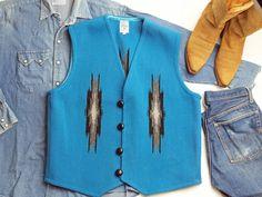 【限定品ビッグサイズ&ファブリック】オルテガ 手織りチマヨ・ベスト 83RG-4618 サイズ46 ターコイズブルー