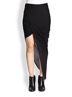 Helmut Lang - HELMUT Helmut Lang Asymmetrical Draped Jersey Skirt saksfifthavenue.com