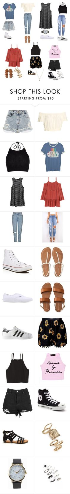 """""""Week at Disney"""" by montanna-willey ❤ liked on Polyvore featuring River Island, Junk Food Clothing, H&M, Topshop, Converse, Aéropostale, Vans, adidas, Boohoo and NLY Accessories"""