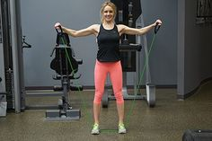 Side raise exercise with resistance band