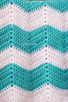 Handmade teal chevron baby blanket - crochet newborn afghan - frozen colors?