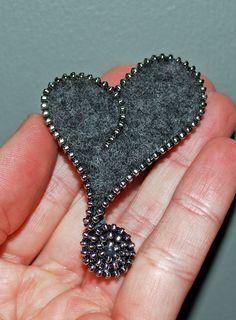 Brooch/Pin - Gray Asymmetrical Heart with Silver Zipper