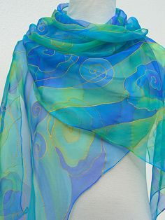 Long Blue chiffon silk scarf Handpainted sheer azure turquoise