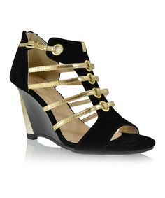Take a look at this Shoe Republic LA Black Longview Wedge on zulily today!