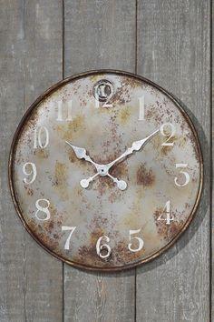 Wanduhr, Deko-Uhr Tormes im Vintage Stil, braun aus Eisen, Ø ca. 60 cm: Amazon.de: Küche & Haushalt